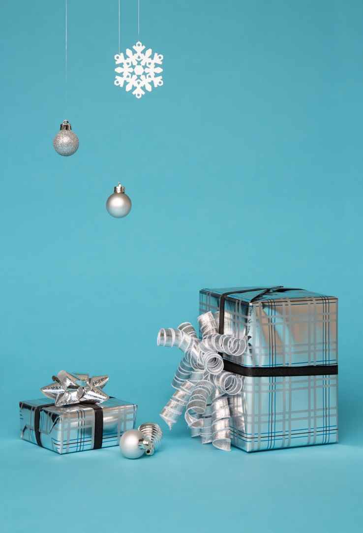 photo of two silver giftbox